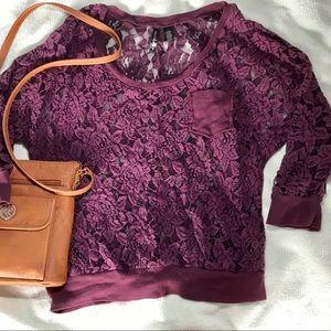 FULL TILT purple lace pocket 3/4 sleeves shirt
